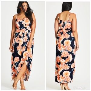 City Chic Tulip Time Floral Faux Wrap Maxi Dress